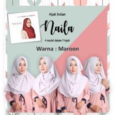 El Hijab 4in1 Pastan Naila Instan - Kerudung Jilbab Instan Fashion Muslim Scarf Khimar Hijab Jilbab Instan Syari Khimar Polos Pashmina Polos Hijab Modern Hijab Kekinian Khimar Instan - Maroon