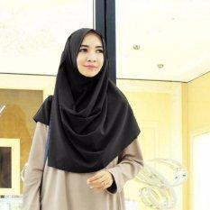 EL HIJAB INSTAN - Kerudung / Jilbab Instan Fashion Muslim Scraft Hijab Khimar Instan Pashmina Instan Polos Hijab Modern Kerudung Kekinian Non Pad - Hitam