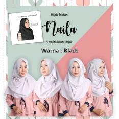 El Hijab Pastan Naila 4in1 Instan - Kerudung Jilbab Instan Fashion Muslim Scarf Khimar Hijab Jilbab Instan Syari Khimar Polos Pashmina Polos Hijab Modern Hijab Kekinian Khimar Instan - Black