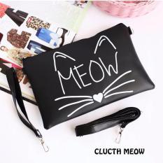 Promo Toko El Piaza Meow Women Clutch Bag Sling Bag Tas Genggam Totebag Lucu Tas Jalan Jalan Tas Travelling Sling Bag Lucu Tas Slempang Tas Bahu Modis Wanita Kekinian Black