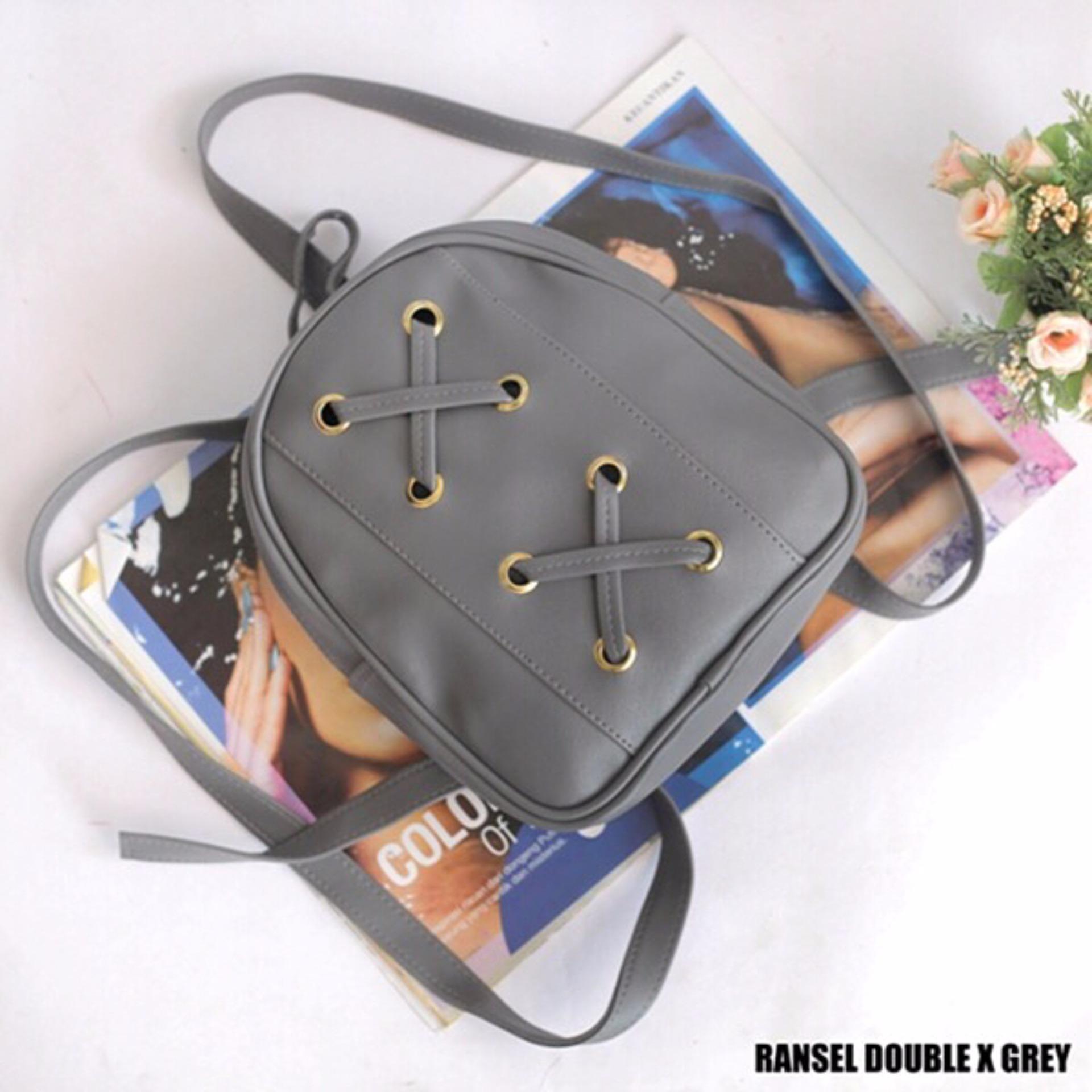 EL PIAZA Mini Ransel Double X Abu - Ransel Mini Ransel Lucu Tas Ransel Sling Bag