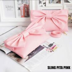 Promo El Piaza Sling Pita Women Clutch Bag Sling Bag Tas Genggam Tas Slempang Tas Pesta Tas Bahu Modis Wanita Kekinian Pink Jawa Timur