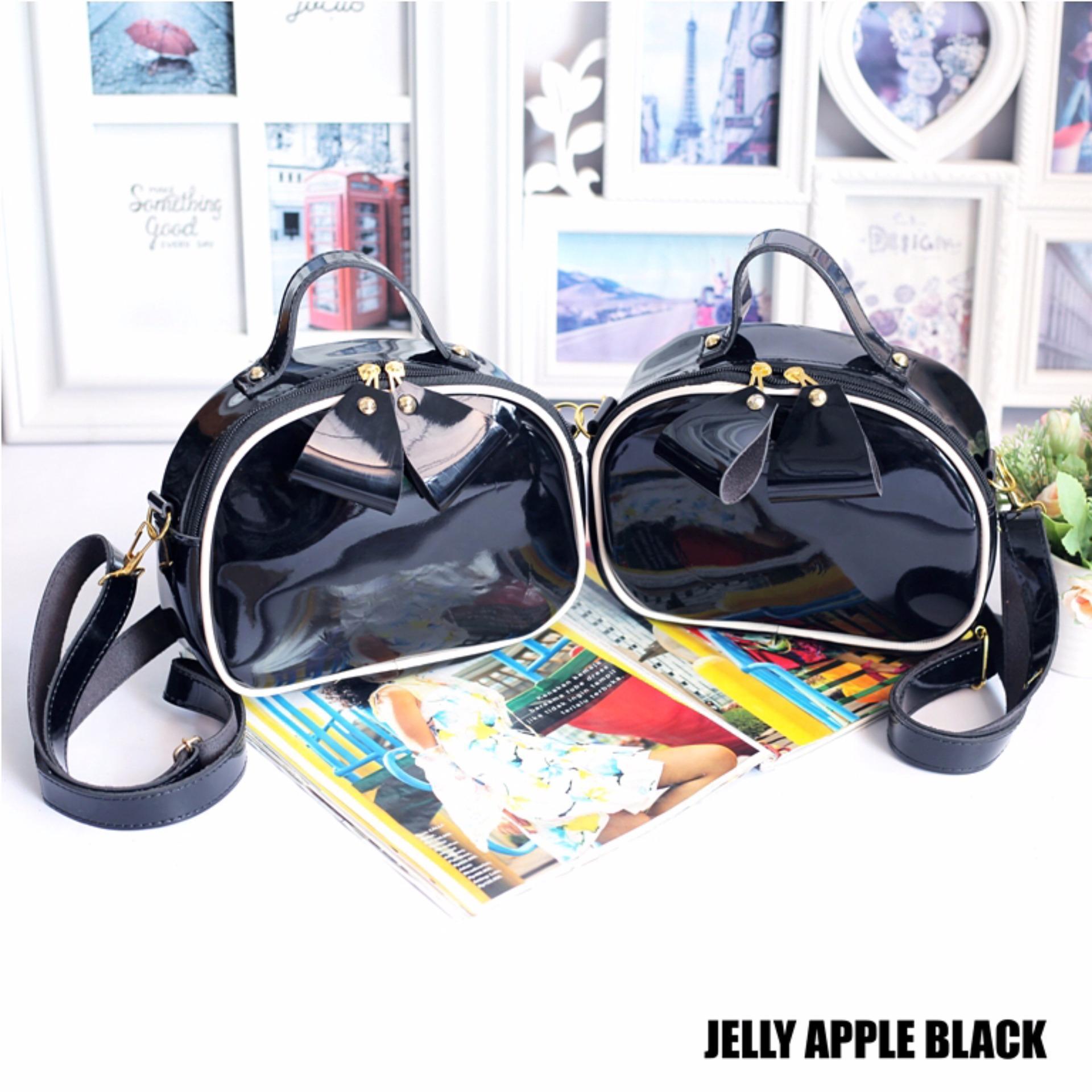 EL PIAZA Tas Selempang Jelly Apel BLACK - Ransel Mini Ransel Lucu Tas Ransel Sling Bag
