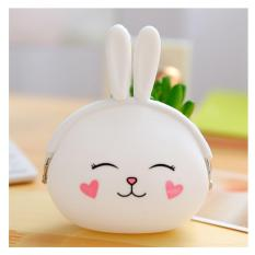EL Silicone Coin Pouch Dompet Koin Lucu jelly silicone Dompet Silicone Tas Koin Uang Receh Dompet Karet Dompet Uang Receh Dompet Murah Super Best Seller - Kelinci Putih