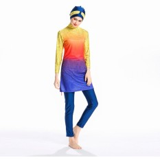 Elastisitas Tinggi Sederhana Muslim Swimwear Swimsuit Islami untuk Wanita Swimwear Penuh Cakupan Swimwear Muslim Renang Pakaian Renang Swim Suit- INTL