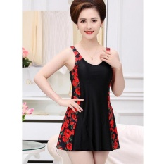 Ibu Tua Konservatif Dress Swimming Suit Swimwear Plus Ukuran One Piece Swimsuit Bating Suits-MERAH-Intl