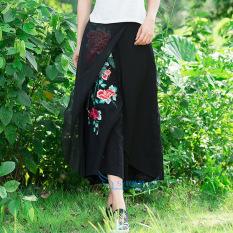 Jual Elegan Angin Nasional Asli Bordir Lebar Kaki Celana Rok Katun Hitam Oem Original