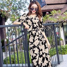 Beli Elegan Dicetak Setengah Panjang Model Elegan Gaun Baru Gaun Hitam Cicil