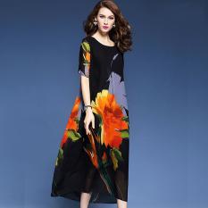 Toko Elegan Eropa Dan Amerika Musim Semi Dan Musim Gugur Baru Dicetak Elegan Gaun Gaun Hitam Di Tiongkok