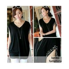 Elegan hitam blouse pesta baju kaos atasan wanita xxl xl jumbo big