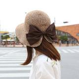 Jual Elegan Korea Fashion Style Ms Matahari Musim Panas Matahari Topi Busur Topi Jerami Khaki Ori