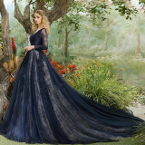 Spesifikasi Elegan Mahal Perjamuan Gaun Malam Baru Rok Biru Baju Wanita Dress Wanita Gaun Wanita Online