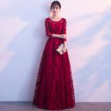 Review Elegan Mahal Baru Musim Dingin Siswa Baju Pelayanan Busana Pendamping Pengantin Arak Anggur Warna Leher Bulat Lengan Panjang Baju Wanita Dress Wanita Gaun Wanita Di Tiongkok
