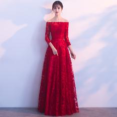 Spesifikasi Elegan Mahal Baru Siswa Lengan Panjang Baju Pelayanan Busana Pendamping Pengantin Merah Tua Bahu Sabrina Lengan Panjang Murah Berkualitas