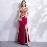 Ongkos Kirim Gaun Pesta Wanita Model Panjang Elegan Arak Anggur Warna Arak Anggur Warna Di Tiongkok