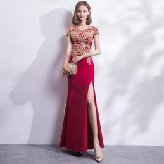 Jual Gaun Pesta Wanita Model Panjang Elegan Arak Anggur Warna Arak Anggur Warna Tiongkok