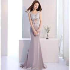 Elegan Mahal Perempuan Baru Semi atau Wanita Gaun Gaun Malam (Abu-abu)