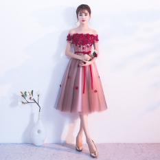 Jual Elegan Perempuan Baru Gaun Kecil Rok Gaun Malam Kacang Merah Warna Pasta Setengah Panjang Model Grosir