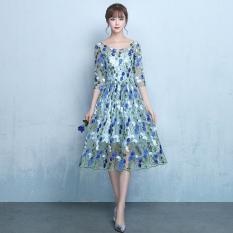 Beli Elegan Putri Baru Setengah Panjang Model Ulang Tahun Gaun Kecil Gaun Malam Langit Biru Baju Wanita Dress Wanita Gaun Wanita Yang Bagus