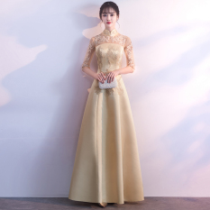 Jual Elegan Putri Gaun Malam Baru Rok Perjamuan 7148 Emas Murah