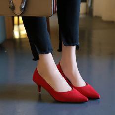 Rp 186.800. Elegan Suede Hitam Perempuan Menunjuk Profesi Sepatu Merah Sepatu Hak Tinggi (Merah) Sepatu wanita high heels sepatu ...