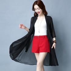 Elegan Wanita Di Bagian Panjang Kardigan Baju Pelindung Matahari (Hitam)