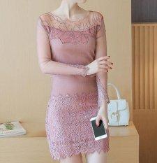 Beli Elegan Wanita Klub Malam Seksi Lace Lengan Panjang Pack Hip Gauze Nap Luxury Evening Dress Cicilan