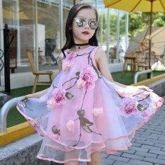 Elegan Kids Gaun untuk Gadis Fashion Floral Chiffon Anak Perempuan Musim Panas Gaun Ulang Tahun Pesta Putri Gaun Vestidos Infantis-Intl