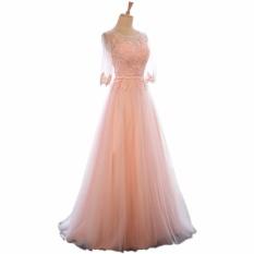 Elegan O-neck A-line Sapu Kereta Renda Gaun Malam Gaun Prom Murah Robe De Soiree Baju Pesta dengan Lengan Separuh Berwarna Merah Muda-Internasional