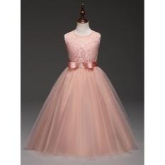 Elegan Pink Putri Gaun untuk Anak Ulang Tahun Hadiah Besar Remaja Gadis Formal Gaun Pesta Tanpa Lengan Anak-anak Vestidos-Internasional
