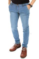 Cuci Gudang Elfs Shop Celana Jogger Panjang Soft Jeans List Thread 034 Biru Muda