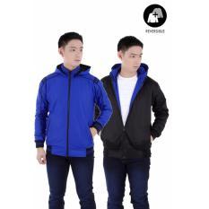 Toko Elfs Shop Jaket Hoodie Waterproof Bolak Balik 2 Sisi 175D15 Men S Reverseable Outwear Parasut Taslan Biru Tua Online Di Dki Jakarta