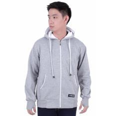 Spesifikasi Elfs Shop Jaket Sweater Hoodie List Pria Fleece Abu Muda Lengkap Dengan Harga