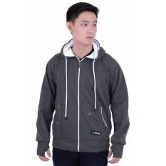 Beli Elfs Shop Jaket Sweater Hoodie List Pria Fleece Abu Tua Lengkap
