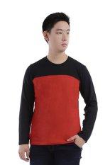 Beli Elfs Shop Kaos Lengan Panjang Pria Terry Half Hitam 65D16 Merah Cabe Murah