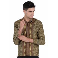 Harga Elfs Shop Kemeja Batik Formal Pria Lengan Panjang Semi Satin 9F17009 Kuning Tua Termahal