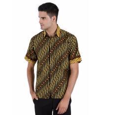 Spesifikasi Elfs Shop Kemeja Batik Formal Pria Lengan Pendek Katun 8F17003 Hitam Terbaru