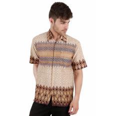 Elfs Shop - Kemeja Batik Formal Pria Lengan Pendek Katun 5F17006-Coklat Muda