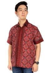 Elfs Shop-Kemeja Fashion Lengan Pendek Batik Katun 5Ja3-Merah Cabe