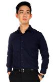 Toko Elfs Shop Kemeja Fashion Pria Lengan Panjang Greyson Reversible Cuff Biru Dongker Termurah Dki Jakarta