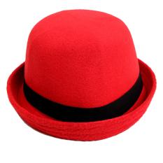 Elfs Shop - Topi Fedora Caplin Bludru-Merah Cabe