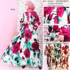 Elia- baju gamis bercorak bunga tulip keren enak dipakai nyaman bagus menarik bisa buat ngaji jangan lupa dibeli