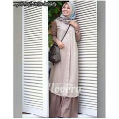 Elia- Baju Gamis Maxy Grey  Motif  Wanita Kekinian Trend Masa Kini High Quality