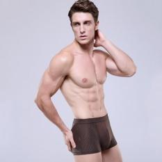 Toko Jual Elife Pria Lembut Bernapas U Berbentuk Mesh Sutra Empat Sudut Boxer Underwear Kopi Intl