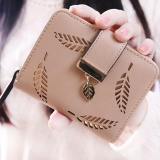 Review Elife Women Hollow Leaf Zipper Style Short Clutch Coin Tray Cards Purse Wallet Khaki Intl Di Tiongkok