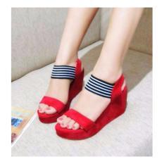 Ellen Grosir Sandal Wedges Panama - Merah