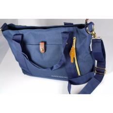 Spek Eloria Promo Tas Wanita Traveling Casual Selempang Fashion Shopping Tote Bag Korean Import Navy Blue Biru Dongker Hangkingkong