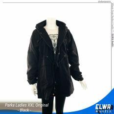 ELWA Jaket Parka Kanvas Wanita Big Size XXL Original Distro [Black]