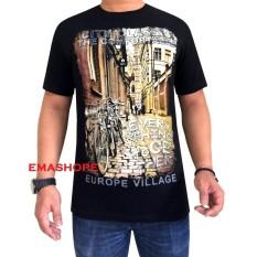 Ema Shope - Kaos Distro Citty Classic T-Shirt Distro Atasan Pria Wanita Cotton Combed 30s Atasan Baju Cowok Cewek Pakaian Fashion Keren Populer Casual Gambar Sablonan Kota Daerah Negara City Classic Europe Village - Kaos Hitam