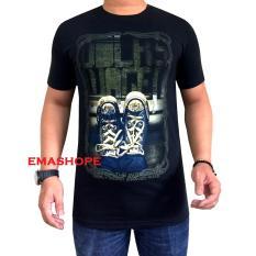 Ema Shope - Kaos Distro T-Shirt Distro Atasan Pria Wanita Cotton Combed 30s Atasan Baju Cowok Cewek Pakaian Fashion Keren Populer Casual Gambar Sablonan Sepatu Kuning Keren- Kaos Hitam